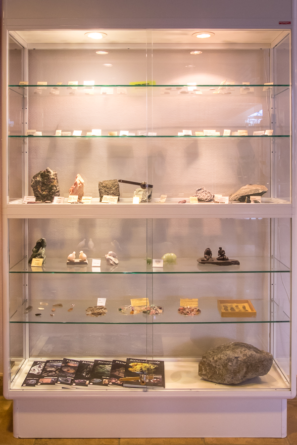 One of the display cabinets featuring rocks and minerals in Sisimiut, West Greenland