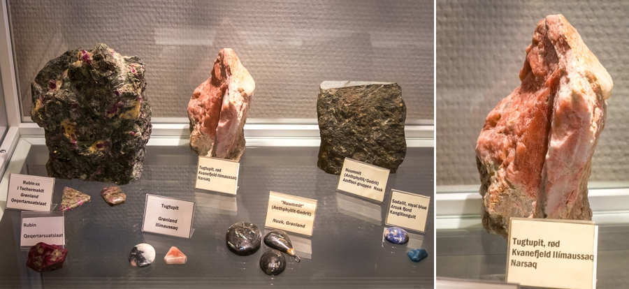 Greenlandic minerals, including Tugtupit, on display in Sisimiut, West Greenland