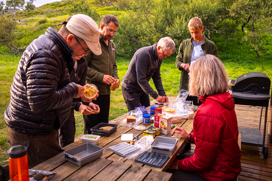 Making lunch on an Icelandic Mountain Guides Trek