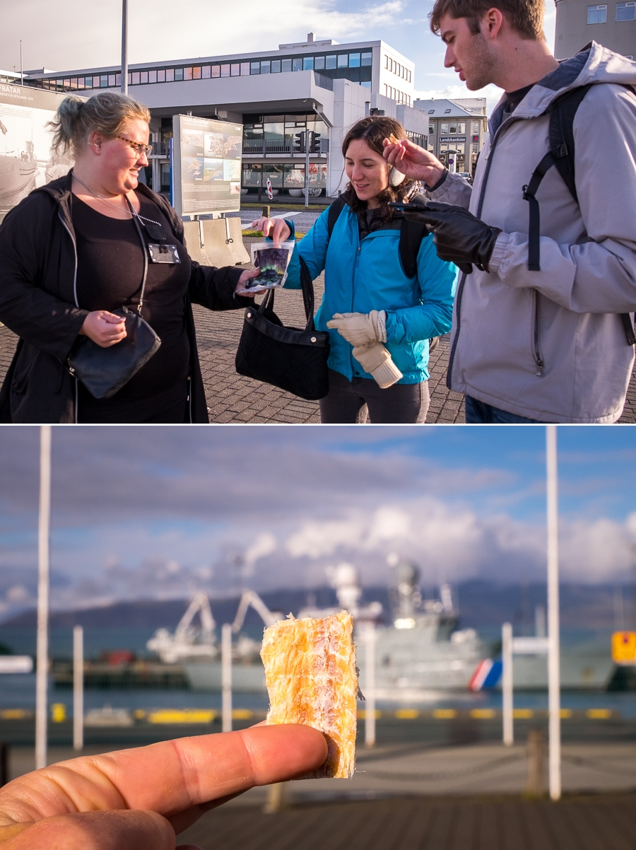 Eating dried fish (haddock) at Reykjavik harbour on the Food lovers tour by Your Friend in Reykjavik