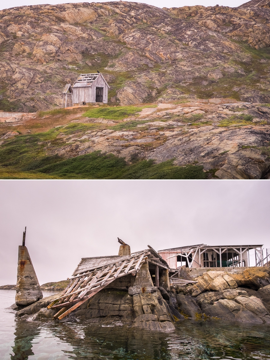 Derelict buildings in the abandoned settlement of Uummannaarsuk near Sisimiut, West Greenland