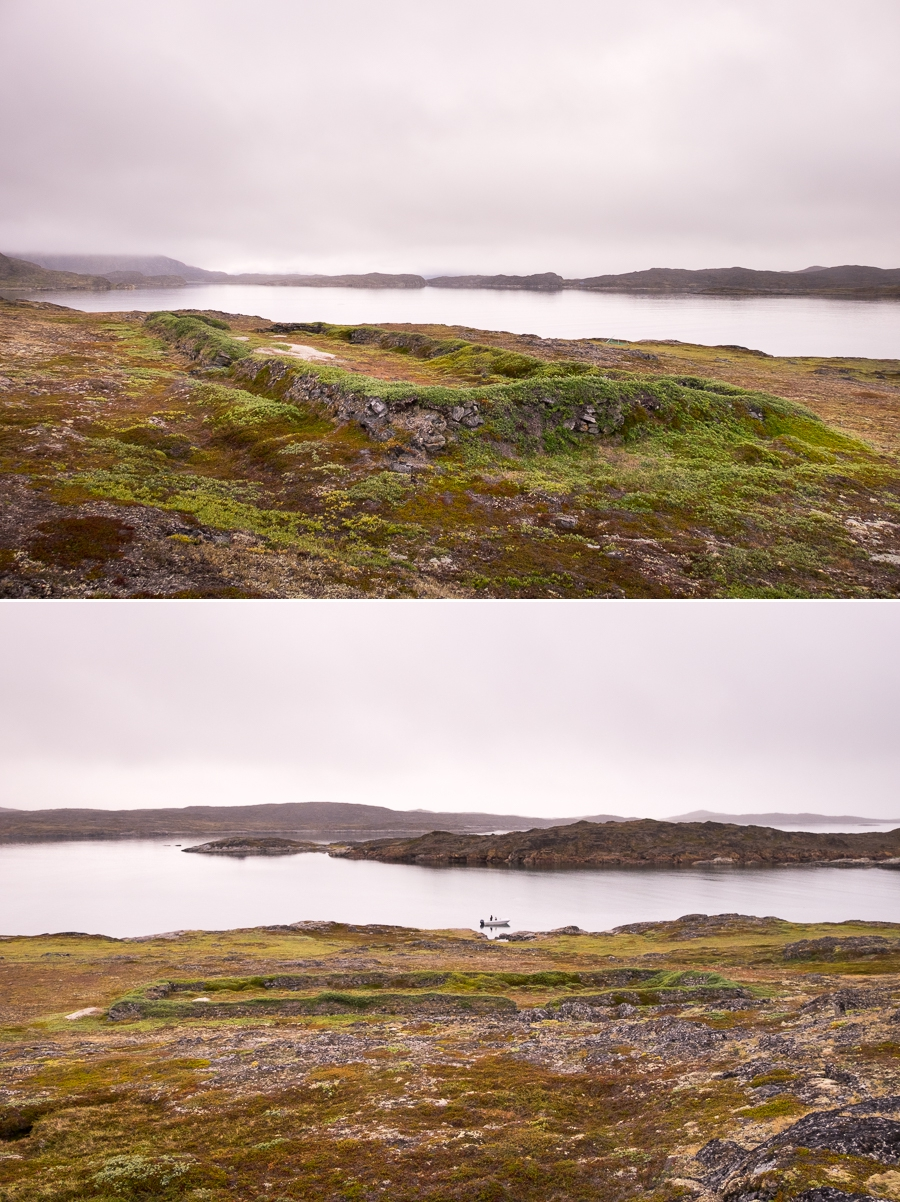 Two views of what remains of the Saqqaq Culture archaeological site on Nipisat Island near Sisimiut, West Greenland