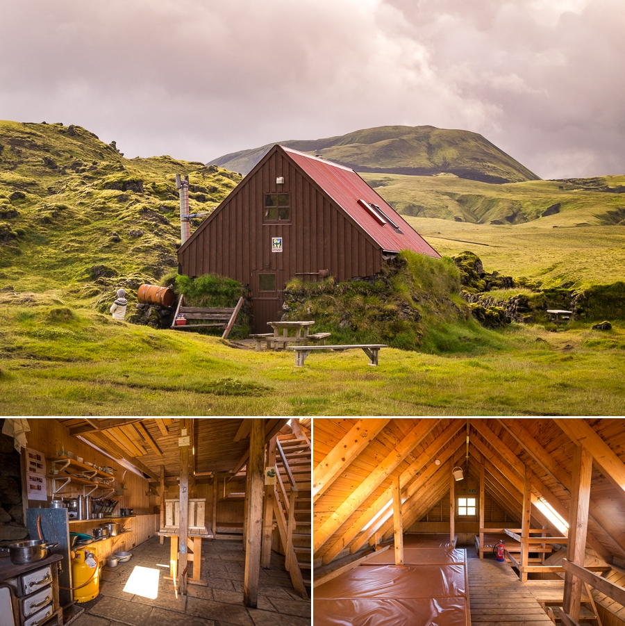 Exterior and interiors of the traditional Álftavötn Hut - Volcanic Trails - Central Highlands, Iceland