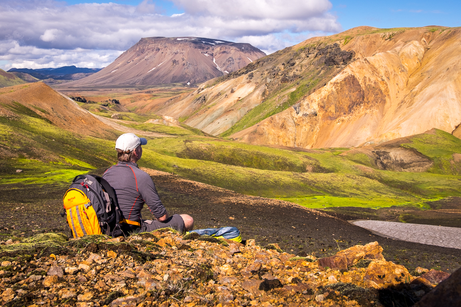 Admiring the colourful Ljósártungur rhyolite mountains - Volcanic Trails - Central Highlands, Iceland