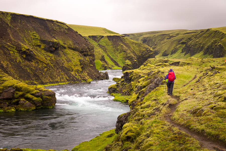 Hiking the trail along the Syðri Ófæra river - Volcanic Trails - Central Highlands, Iceland