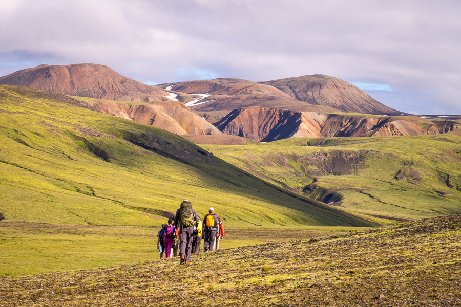 Hiking towards the Ljósártungur rhyolite mountains - Volcanic Trails - Central Highlands, Iceland
