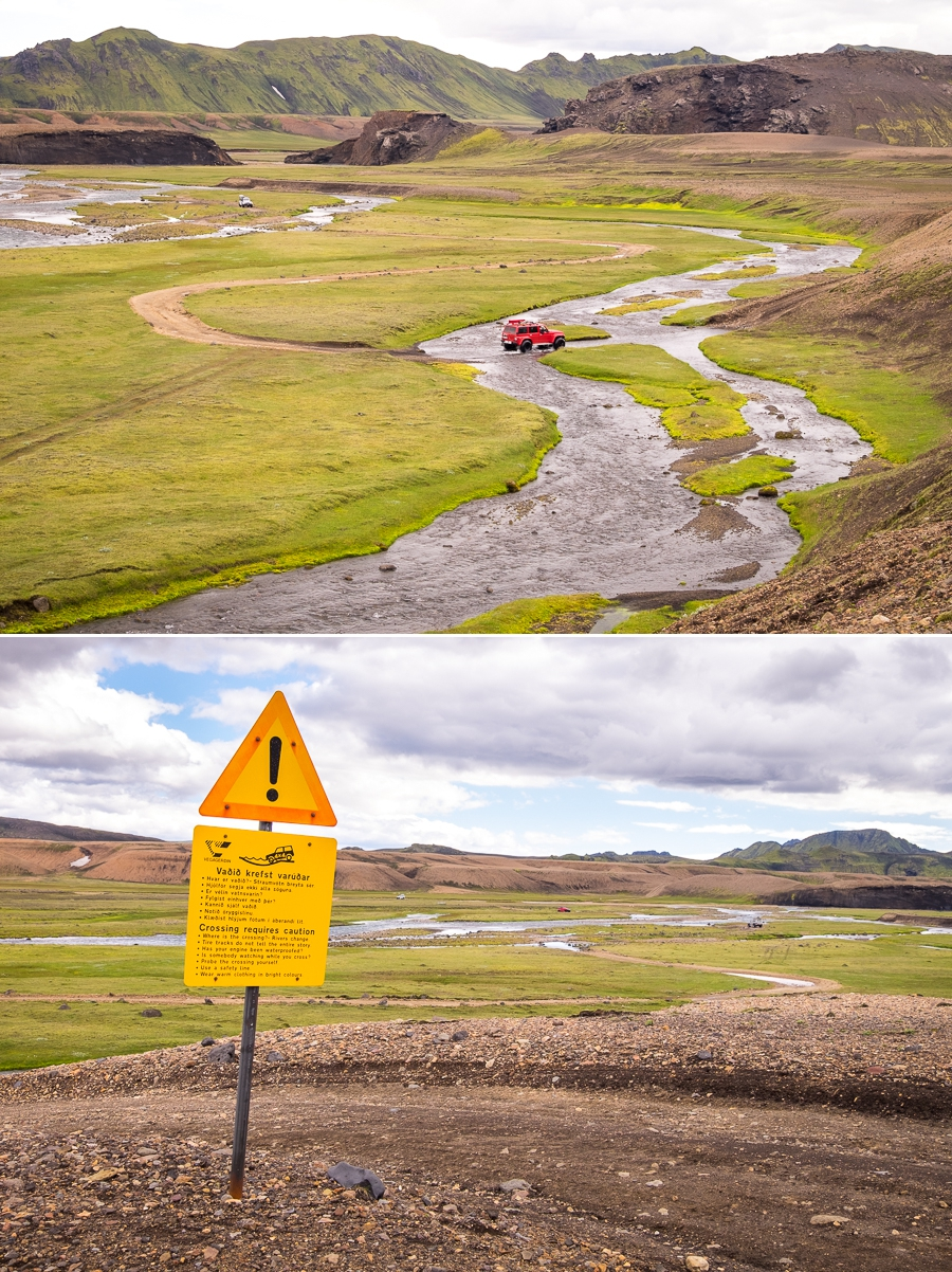 Cars crossing the river and a warning sign - Volcanic Trails - Central Highlands, Iceland