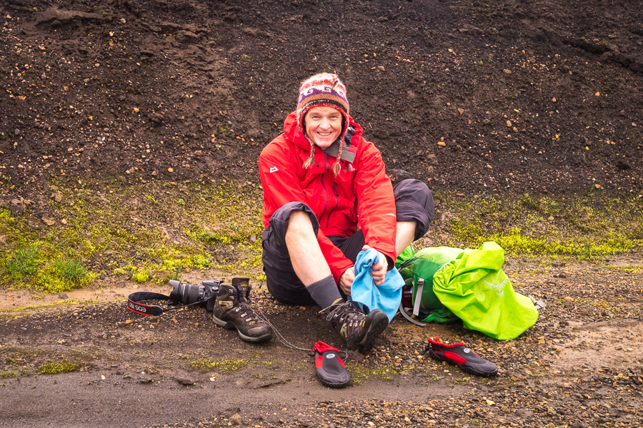 Changing shoes after river crossing - Volcanic Trails - Central Highlands, Iceland