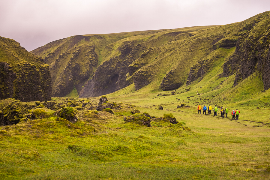 Hiking in a never-ending field of green - Volcanic Trails - Central Highlands, Iceland