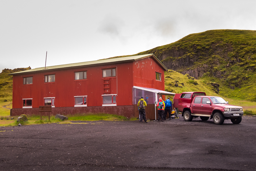 Loading the luggage and our food into the support vehicle at Hólaskjól Hut - Volcanic Trails - Central Highlands, Iceland