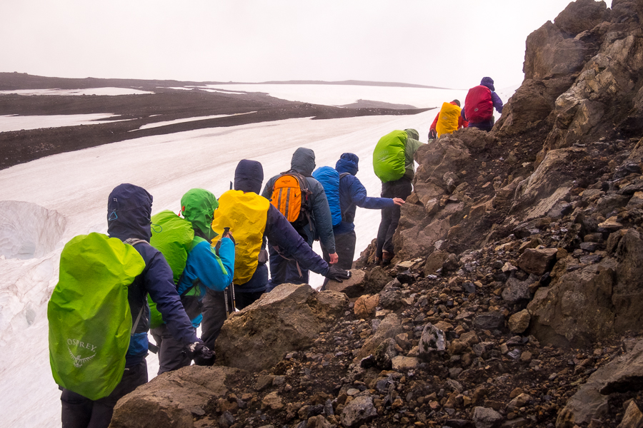 Negotiating a precarious ridge - Volcanic Trails - Central Highlands, Iceland