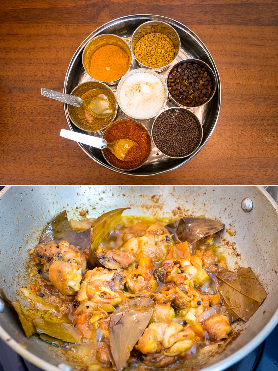 spices and chicken curry for daal bhat - 2Sisters Nepal Cooking School - Kathmanu