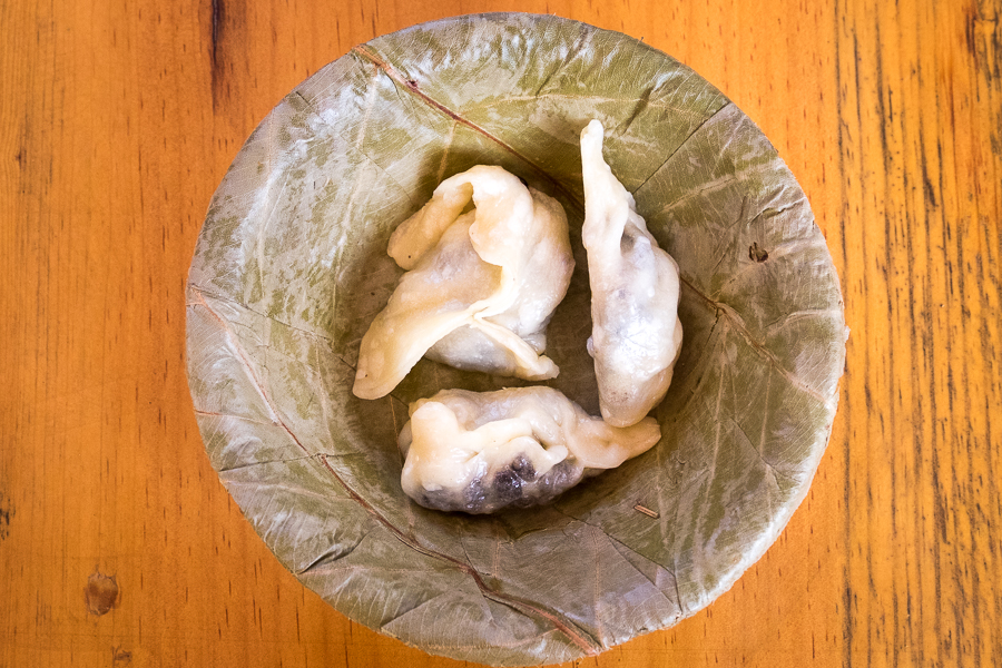 Completed chocolate momos in dry-leaf bowl - 2Sisters Nepal Cooking School - Kathmanu