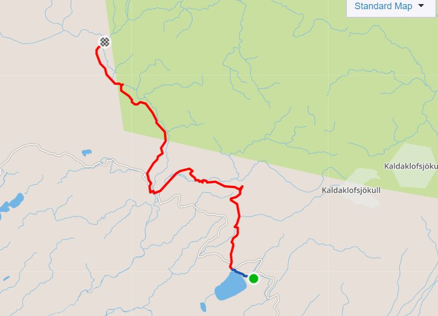 Basic Map of the hike from Álftavatn to Dalakofinn in the Central Highlands of Iceland - from Strava