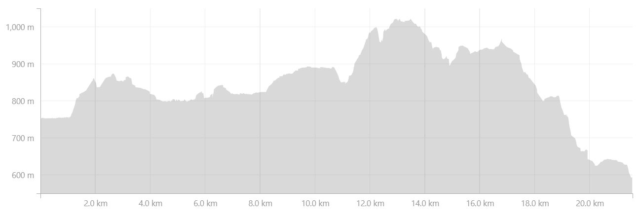 Altitude profile of the hike from Dalakofinn to Landmannalaugar in the Central Highlands of Iceland - from Strava