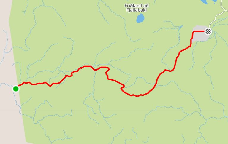 Basic Map of the hike from Dalakofinn to Landmannalaugar in the Central Highlands of Iceland - from Strava