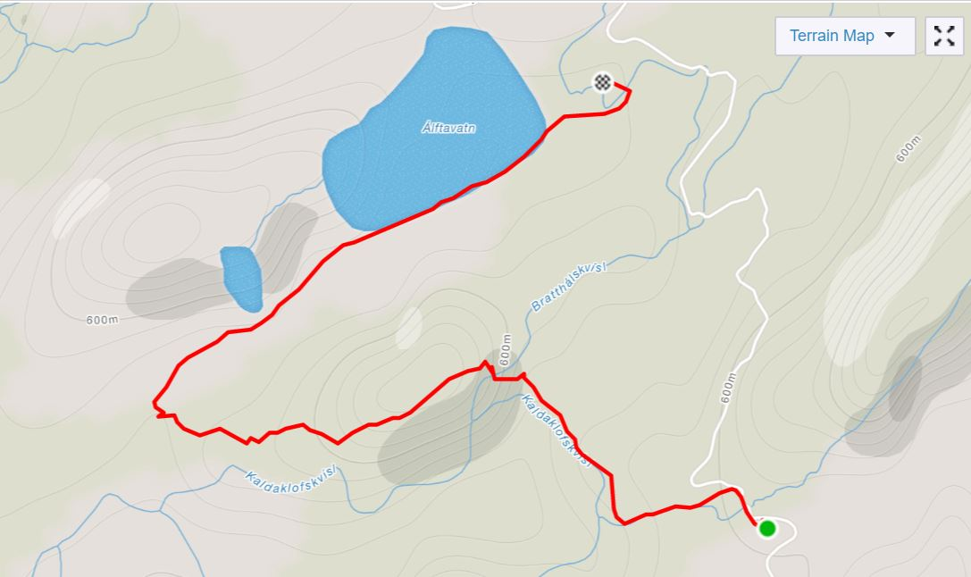 Basic Map of the hike from Hvanngil to Álftavatn in the Central Highlands of Iceland - from Strava