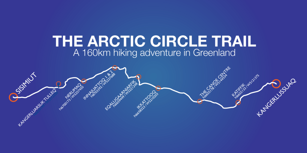 Schematic of the Arctic Circle Trail Route from Destination Arctic Circle