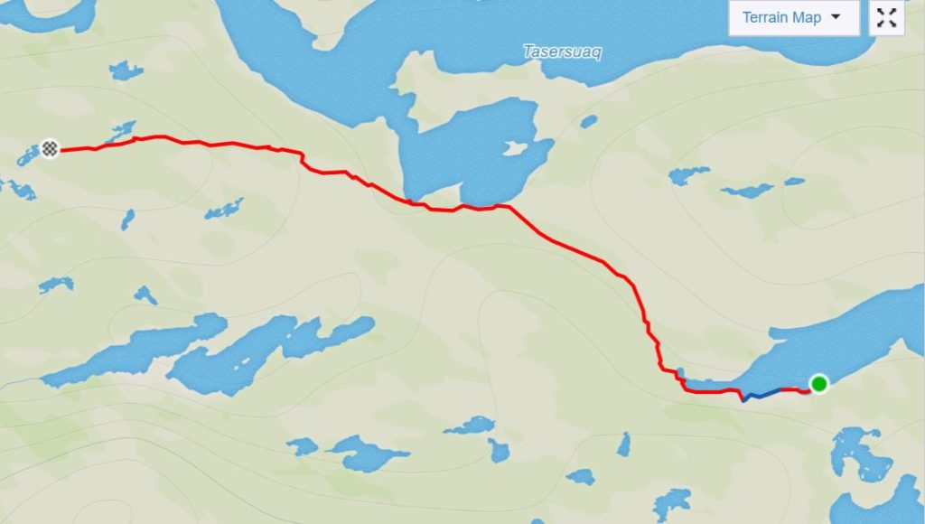 Basic map of the route from the Canoe Center to Ikkattooq Hut on the Arctic Circle Trail, West Greenland- from Strava