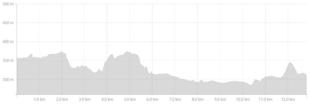 Altitude profile of the route from the Eqalugaarniarfik Hut to Innajuattoq II Hut (the Lake House) on the Arctic Circle Trail, West Greenland- from Strava