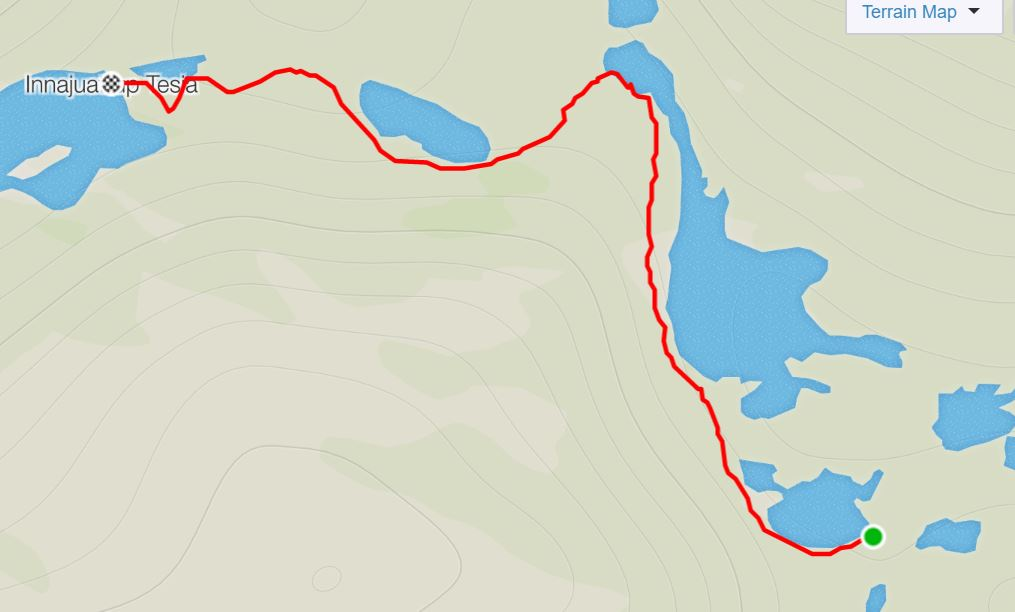 Basic Map of the route from the Eqalugaarniarfik Hut to Innajuattoq II Hut (the Lake House) on the Arctic Circle Trail, West Greenland- from Strava