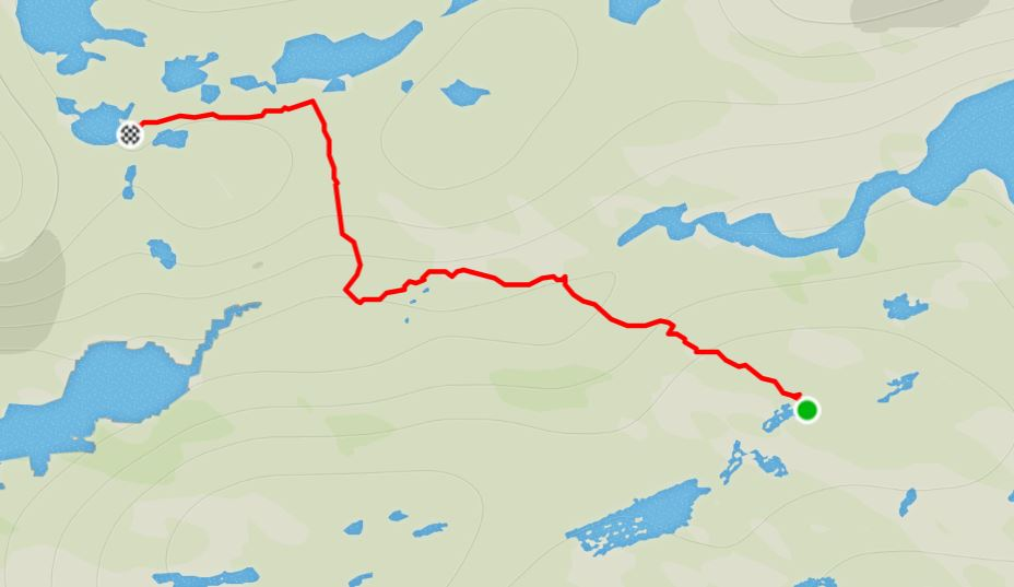 Basic Map of the route from the Ikkattooq Hut to the Eqalugaarniarfik Hut on the Arctic Circle Trail, West Greenland- from Strava