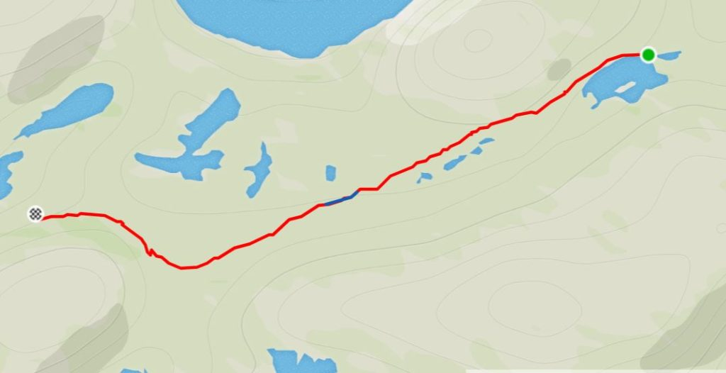 Basic Map of the route from the Innajuattoq II Hut (the Lake House) to the Nerumaq Hut on the Arctic Circle Trail, West Greenland- from Strava