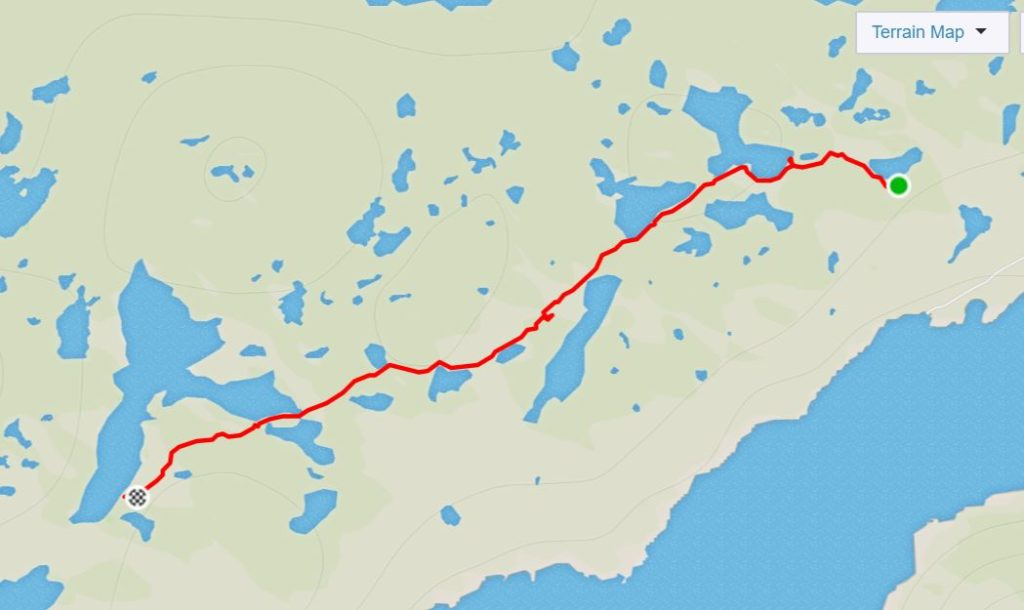 Basic map of the route from Kelly Ville to Katiffik Hut along the Arctic Circle Trail - from Strava