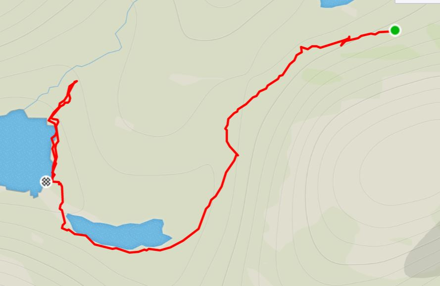 Basic Map of the route from the Nerumaq Hut to the Kangerlusarsuk Tulleq Nord Hut on the Arctic Circle Trail, West Greenland - from Strava