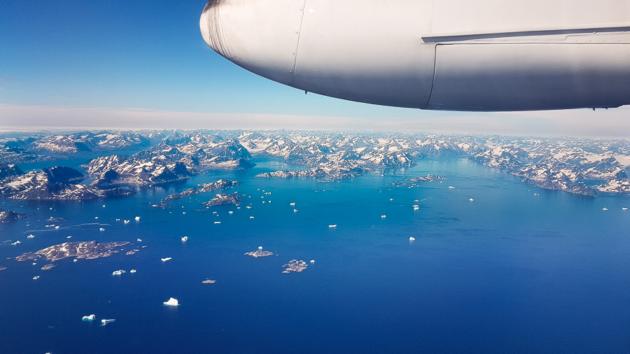View over the fjords of East Greenland from my Air Iceland Connect flight