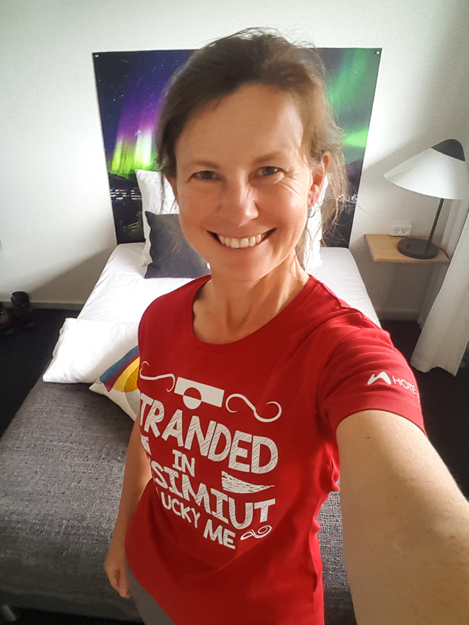 "Me wearing my ""Stranded in Sisimiut - Lucky Me!"" t-shirt at the Hotel Sisimiut - West Greenland"