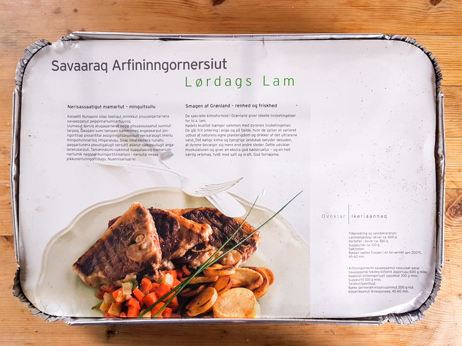 Package containing a frozen lamb meal in Greenland