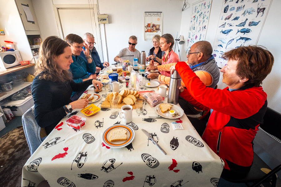 Breakfast on an Icelandic Mountain Guides tour - East Greenland