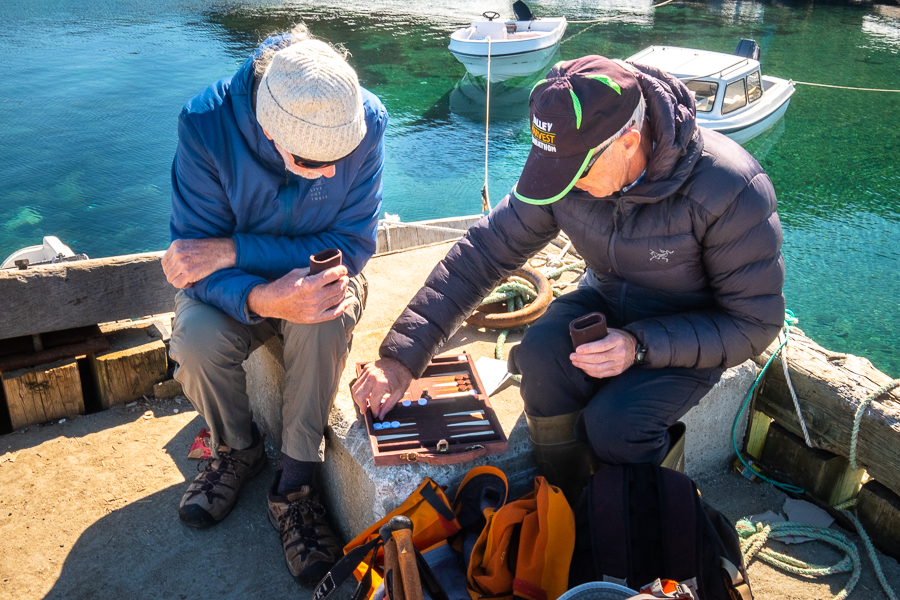 Alan and Eric and backgammon - Kulusuk harbour - East Greenland