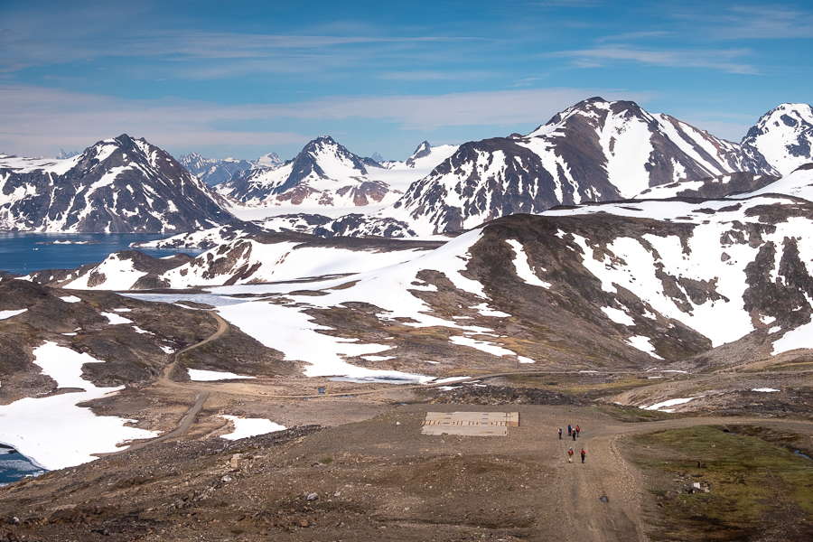 Hiking past foundations of buildings that use to service DYE-4 radar station - Kulusuk Island - East Greenland