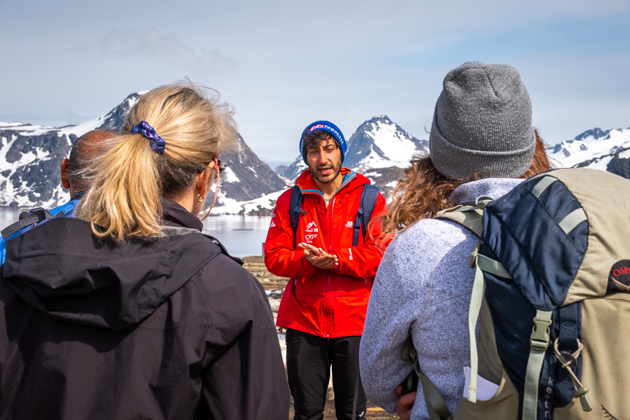 Our guide explaining a little about East Greenland as we hike in from Kulusuk airport