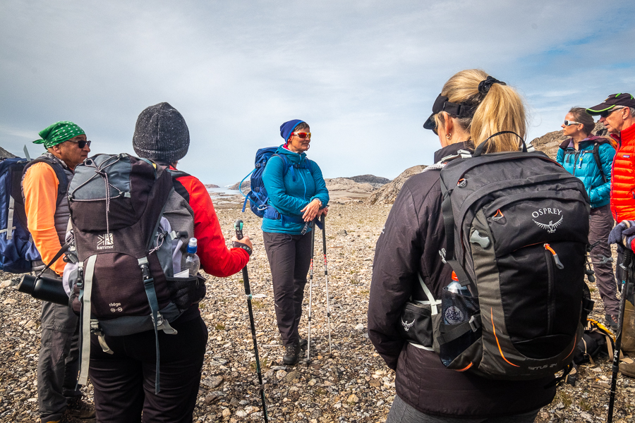 Our guide explaining about the Reindeer Fence - Kulusuk Island - East Greenland