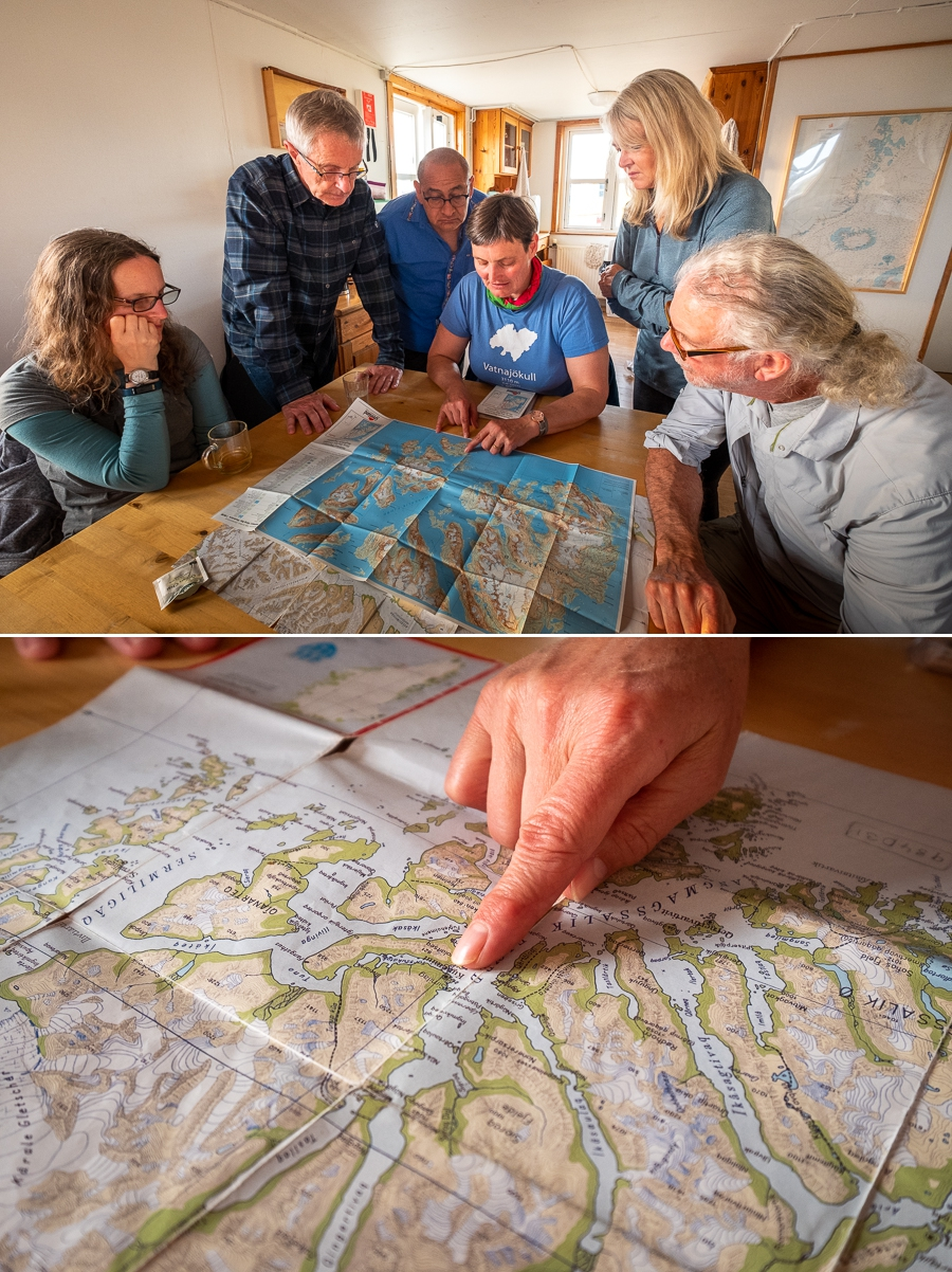 Our guide explaining the plan for the next 9 days using the map of Kulusuk Island - East Greenland