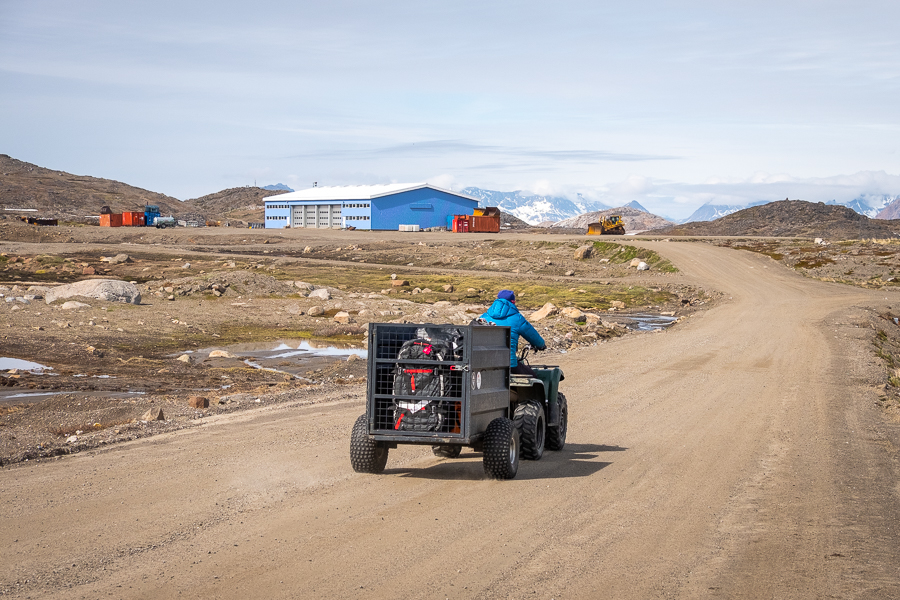 Our guide transferring our luggage from the airport on a Quad-bike - Kulusuk - East Greenland