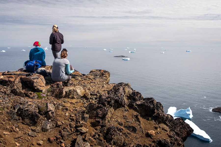 Enjoying the view over the ocean and icebergs at DYE-4 radar station - Kulusuk Island - East Greenland