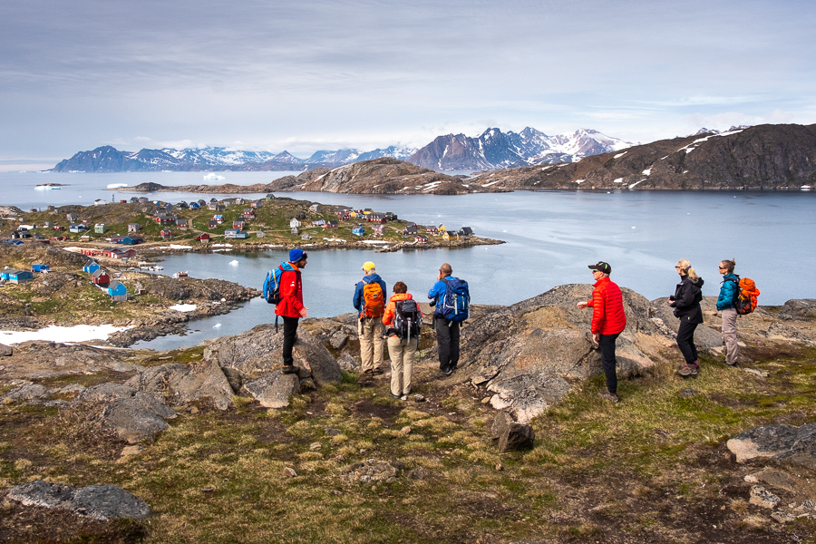 Hiking group at the viewpoint overlooking Kulusuk - East Greenland