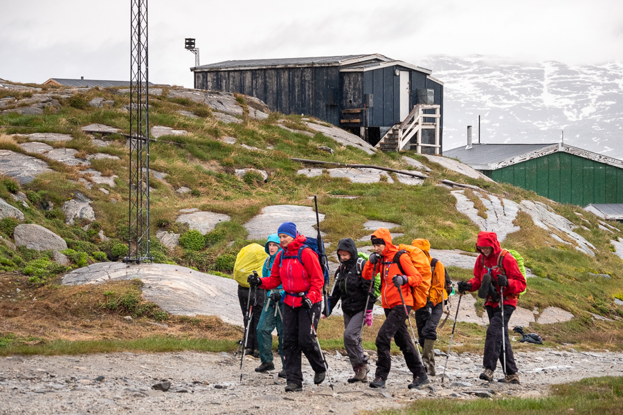 Heading out into the rain from our hut in Kuummiut - East Greenland