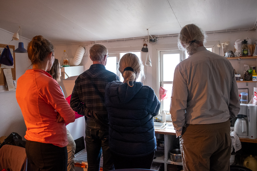 Whale watching from the kitchen window of our hut in Kuummiut - East Greenland