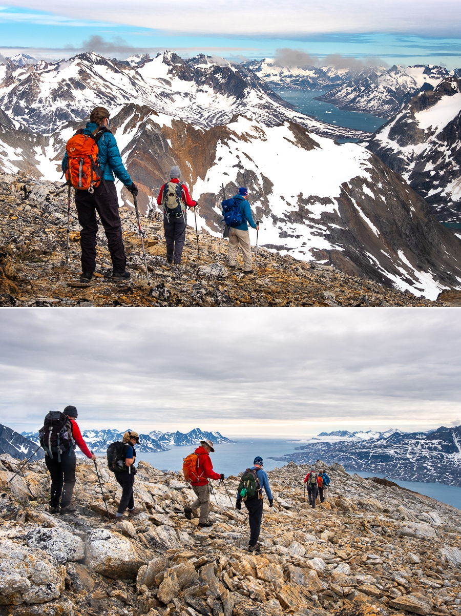 Views descending from the summit of Mt Kuummiut - East Greenland