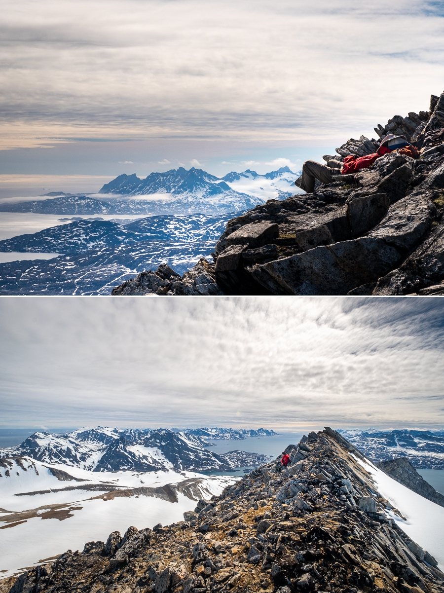 relaxing on the ridge at the summit of Mt Kuummiut - East Greenland