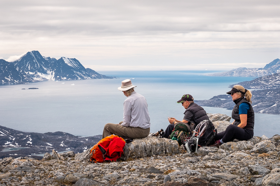 Rest stop overlooking the fjord on the way up Mt Kuummiut, East Greenland