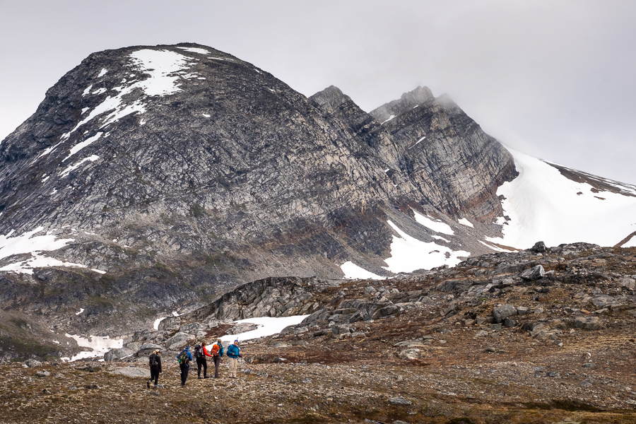 Start of the hike to the cloud shrouded top of Mt Kuummiut - East Greenland