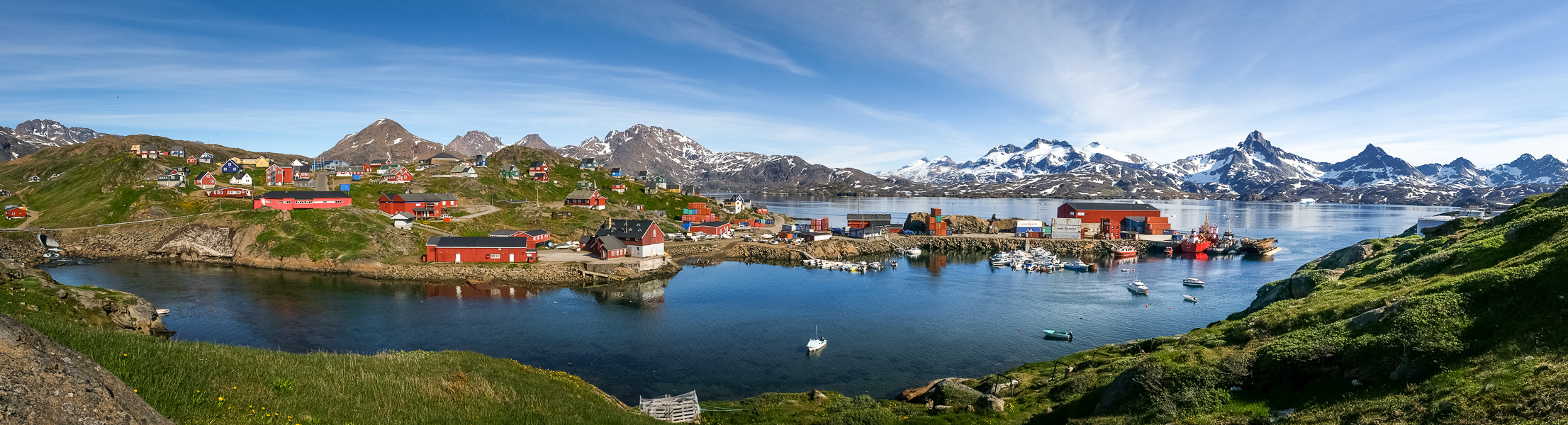 Panoramic view of Tasiilaq harbor - East Greenland