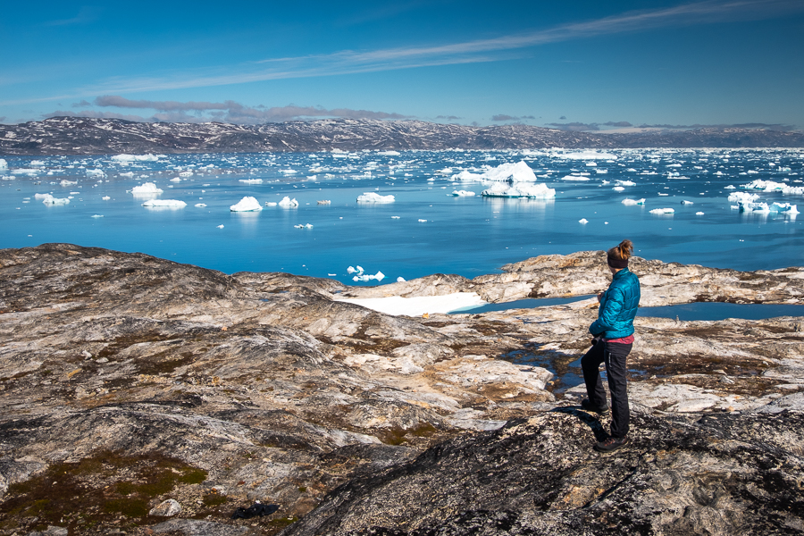 Looking out over the icebergs in the Sermilik Fjord near Tiniteqilaaq - East Greenland