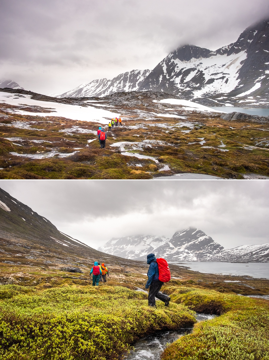 Hiking up the Torsukattak Fjord in the rain - near Kuummiut, East Greenland